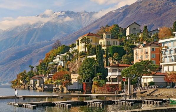 Картинка деревья, горы, здания, Швейцария, Switzerland, Аскона, Ascona