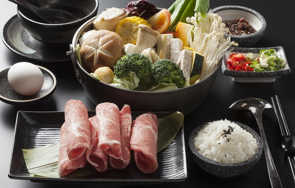 Картинка грибы, мясо, рис, овощи, ассорти