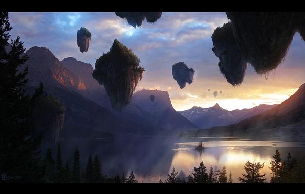 Картинка пейзаж, закат, горы, природа, озеро, фантастика, вечер, аватар, парящие острова