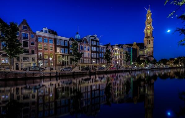 Картинка авто, машины, отражение, здания, Амстердам, церковь, канал, Нидерланды, ночной город, набережная, Amsterdam, Netherlands, Вестеркерк, Prinsengracht, …