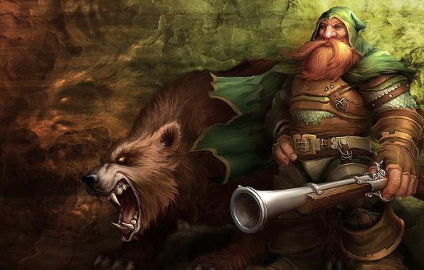 Картинка стена, медведь, пасть, ружье, wow, world of warcraft, дварф