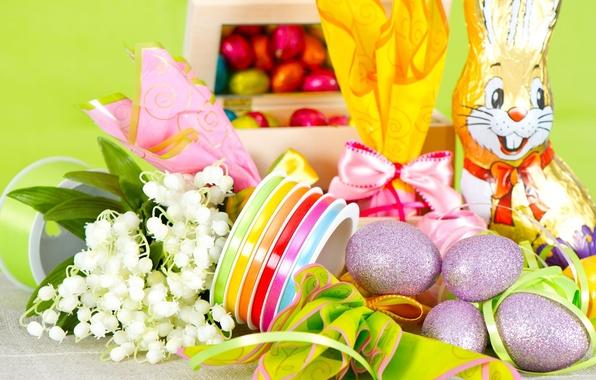 Картинка шоколад, яйца, пасха, подарки, ландыши, тесьма, шоколадный заяц