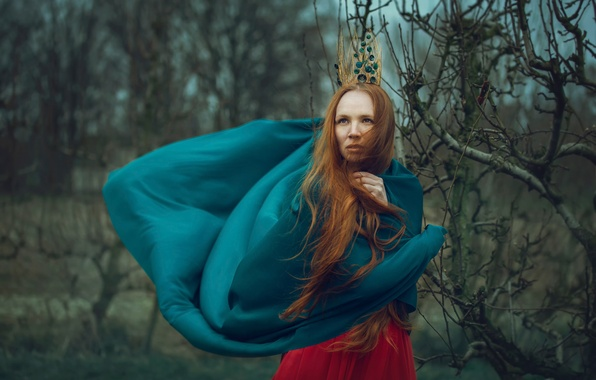 Картинка лес, девушка, ветер, рыжеволосая, боке, Tailor girl