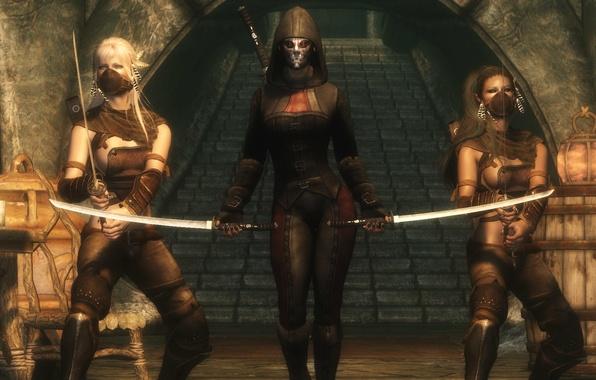 Картинка девушка, меч, скайрим, Skyrim, The Elder Scrolls V, мод