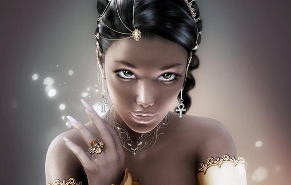 Картинка взгляд, девушка, украшения, лицо, волосы, рука, серьги, кольцо, ногти, зеленые глаза, крестики