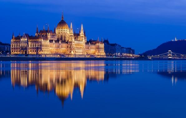 Картинка отражение, река, здание, Венгрия, Hungary, Будапешт, Дунай, Budapest, Danube, Венгерский парламент, Hungarian Parliament