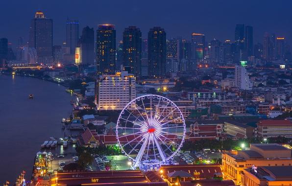 Картинка огни, река, вид, здания, дома, небоскребы, освещение, подсветка, панорама, колесо обозрения, Тайланд, Бангкок, ночной город, …
