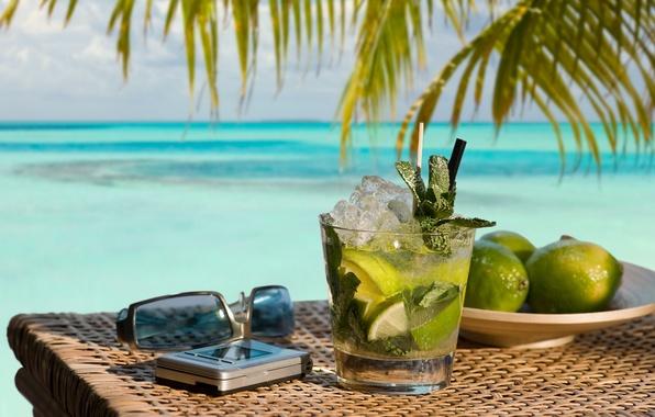 Картинка вода, природа, океан, коктейль, лайм, напиток, ocean, nature, water, Мохито, drink, mojito, cocktail, lime