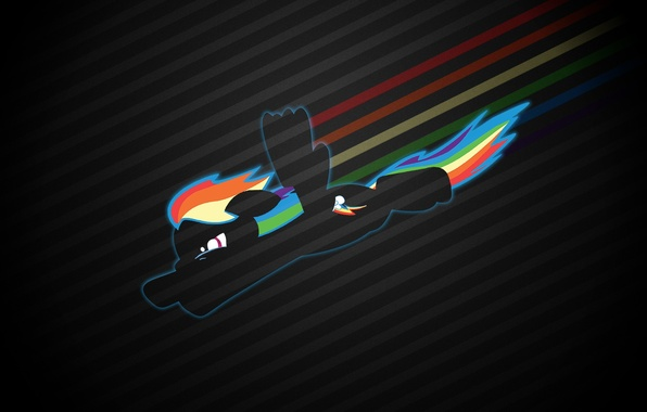 Картинка полет, доброта, радуга, силуэт, пони, My Little Pony, Rainbow Dash