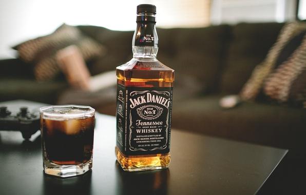 Картинка стакан, бутылка, виски, jack daniels