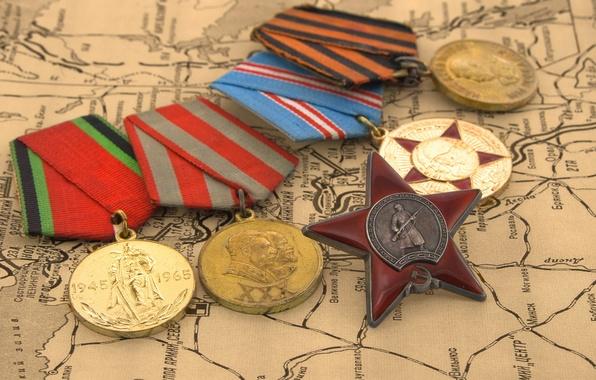 Картинка звезда, карта, 9мая, день победы, награды, медали