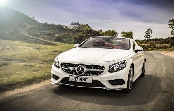 Картинка дорога, car, авто, Mercedes-Benz, white, road, speed, Cabriolet, S 500, AMG line