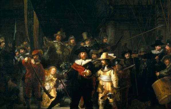 Картинка оружие, люди, женщина, толпа, картина, солдаты, барабаны, ружья, искусство, народ, пики, Nachtwacht, столпотворение, Ночной дозор, …