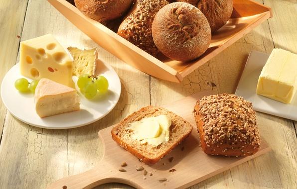Фото обои масло, еда, сыр, хлеб, виноград, доска, семечки, кунжут, булочки