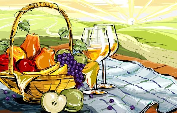 Картинка пейзаж, вино, яблоки, рисунок, бокал, еда, вектор, виноград, фрукты, натюрморт, корзинка, груши