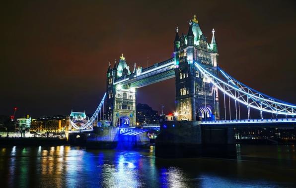 Картинка ночь, мост, огни, река, Англия, Лондон, Темза, Tower Bridge