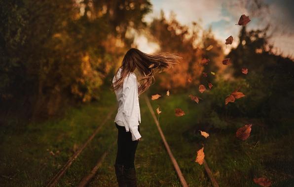 Картинка осень, листья, девушка, ветер, волосы, боке