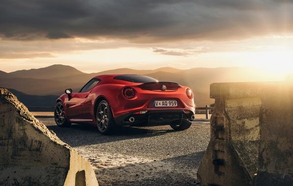 Картинка Red, Car, Sunset, Sport, Launch Edition, Rear, 2015, Alfa-Romeo