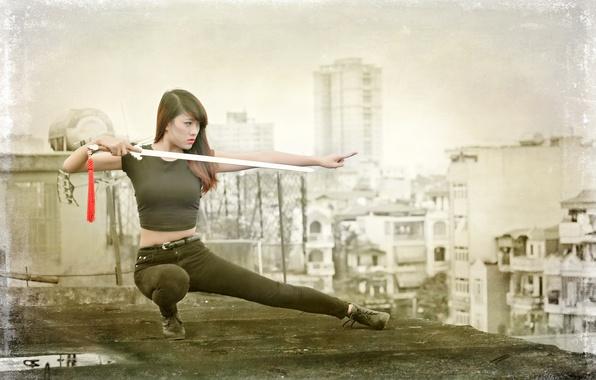 Картинка девушка, оружие, азиатка