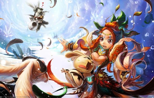 Картинка девушка, игра, аниме, кролики, зайцы, Kung foo