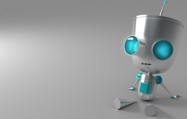 Картинка глаза, ноги, Робот, руки, сидит