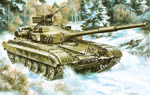 Картинка рисунок, танк, СССР, Т-64Б, ОБТ