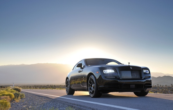 Картинка дорога, car, машина, Rolls-Royce, road, передок, Wraith, Black Badge