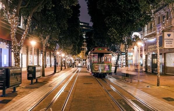 Картинка дорога, ночь, lights, огни, дерево, Калифорния, Сан-Франциско, железная, трамвай, USA, США, night, Francisco, San, California, …
