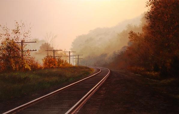 Картинка осень, лес, деревья, пейзаж, туман, столбы, рельсы, картина, арт, железная дорога, Brian Slawson