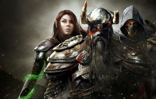 Картинка девушка, магия, воин, капюшон, маг, шлем, мужчины, ассасин, The Elder Scrolls Online