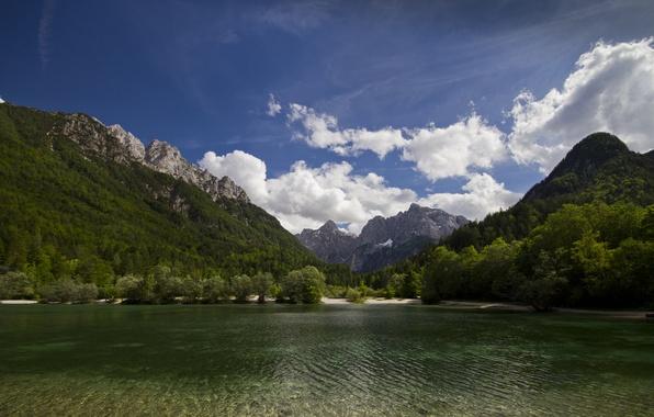 Картинка горы, природа, озеро, Словения, Slovenia, Kranjska Gora, Lake Jasna, Краньска-Гора