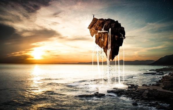 Картинка море, небо, вода, звезды, облака, полет, пейзаж, закат, камень, человек, остров, арт