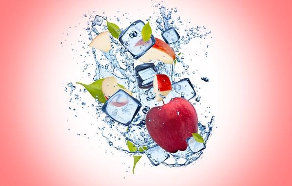 Картинка лед, вода, капли, фон, Apple, яблоко, ice, water, background, drops