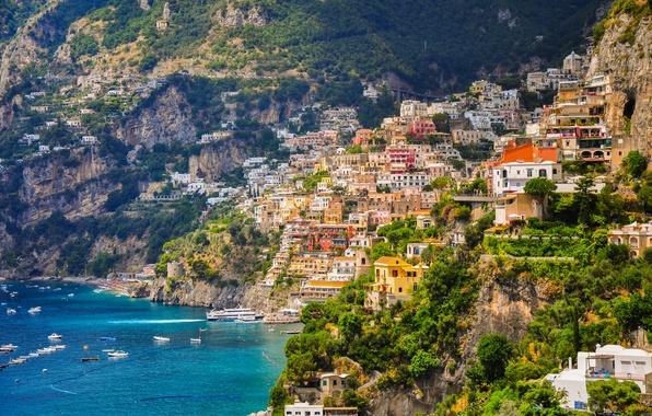 Картинка море, побережье, здания, лодки, склон, Италия, залив, Italy, Campania, Amalfi Coast, Позитано, Positano, Gulf of …