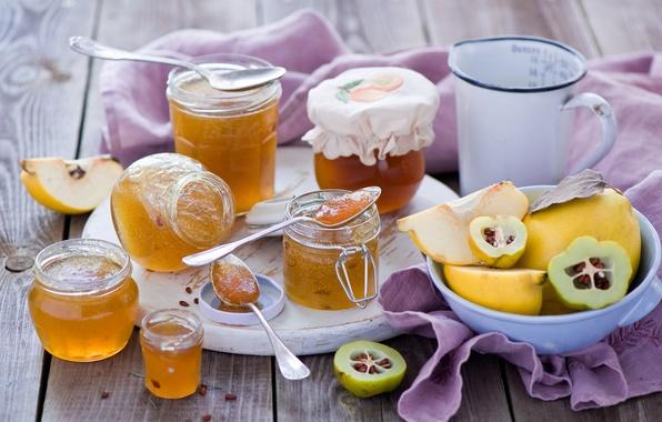 Картинка баночки, посуда, банки, фрукты, джем, варенье, айва, ложки, Anna Verdina