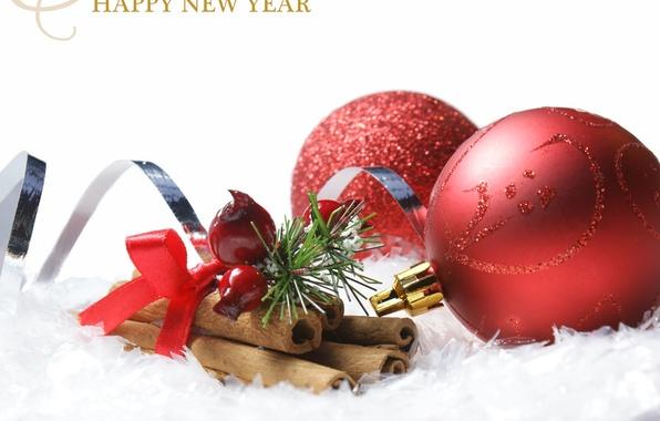 Фото обои праздник, шары, игрушки, Новый Год, Рождество, красные, Christmas, шишки, поздравление, New Year, елочные