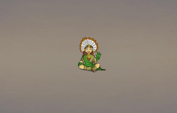 Картинка улыбка, минимализм, перья, сидит, жест, индеец, indian, приветствие, индианка