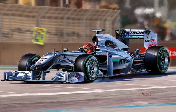 Картинка рисунок, команда, гонки, пилот, болид, Mercedes-benz, Michael Schumacher, Формула-1, Михаэль Шумахер, Formula One Team, Michal …