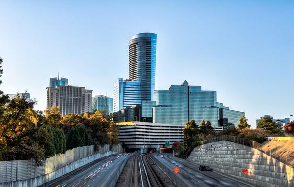 Картинка дорога, небо, деревья, city, город, HDR, небоскребы, USA, США, sky, trees, Georgia, highway, skyscrapers, Атланта, …