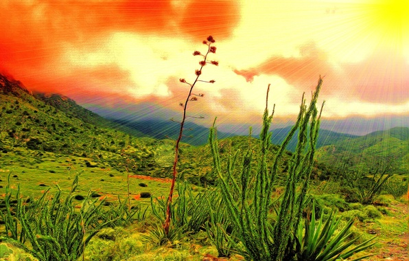 Картинка небо, трава, солнце, облака, лучи, пейзаж, горы, природа