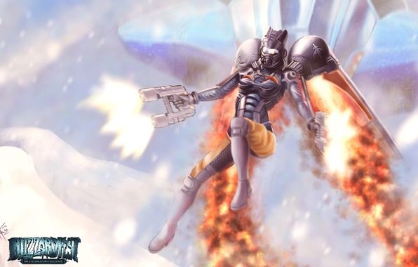 Картинка девушка, оружие, костюм, Starcraft, выстрелы, ранец, Reaper