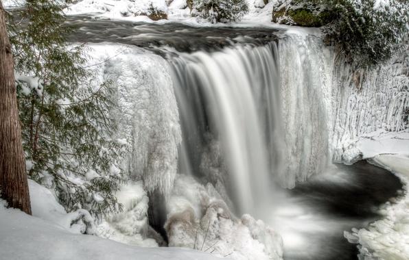 Картинка зима, снег, река, водопад, лёд, поток