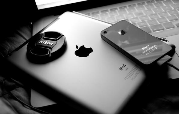 Картинка apple, телефон, ноутбук, планшет, дисплей, nikon, macbook pro, ipad 2, iphone 4, iphone 4s