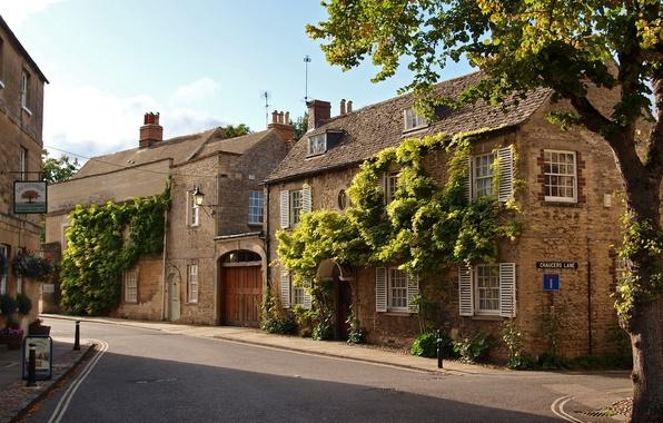 Картинка город, фото, дома, Великобритания, Вудсток, Оксфордшир