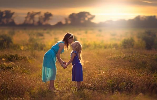 Фото обои дружба, Sisters, дети, девочки