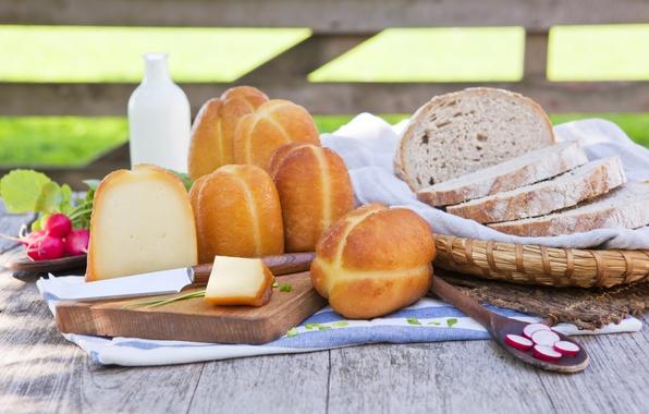 Картинка зелень, стол, корзина, сыр, молоко, хлеб, нож, салфетка, аппетитно, ломти, редиска