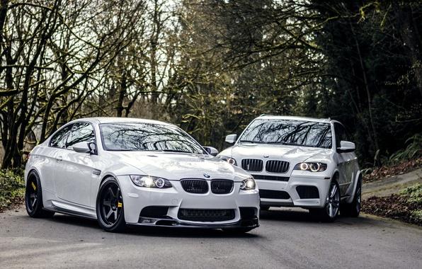 Картинка Дорога, BMW, БМВ, Фары, Белые, White, E92, X5M, E72