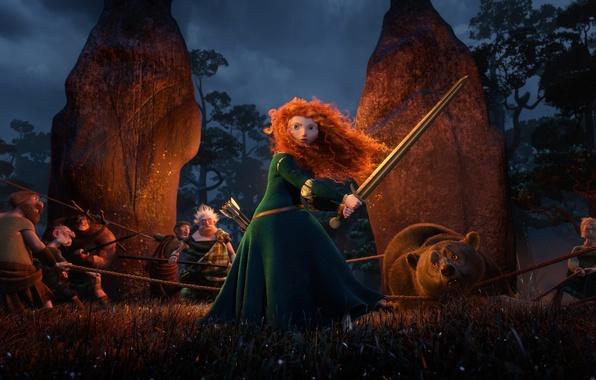 Картинка мультфильм, Шотландия, медведь, воин, лучница, Disney, Pixar, Пиксар, принцесса, bear, red hair, Scotland, the movie, …