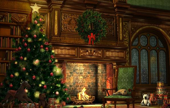 Картинка шарики, украшения, огни, стиль, комната, праздник, игрушки, новый год, рождество, интерьер, подарки, ёлка, камин, гирлянды, …