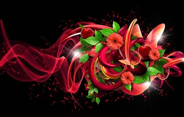 Картинка листья, цветы, фон, коллаж, яблоки, объем